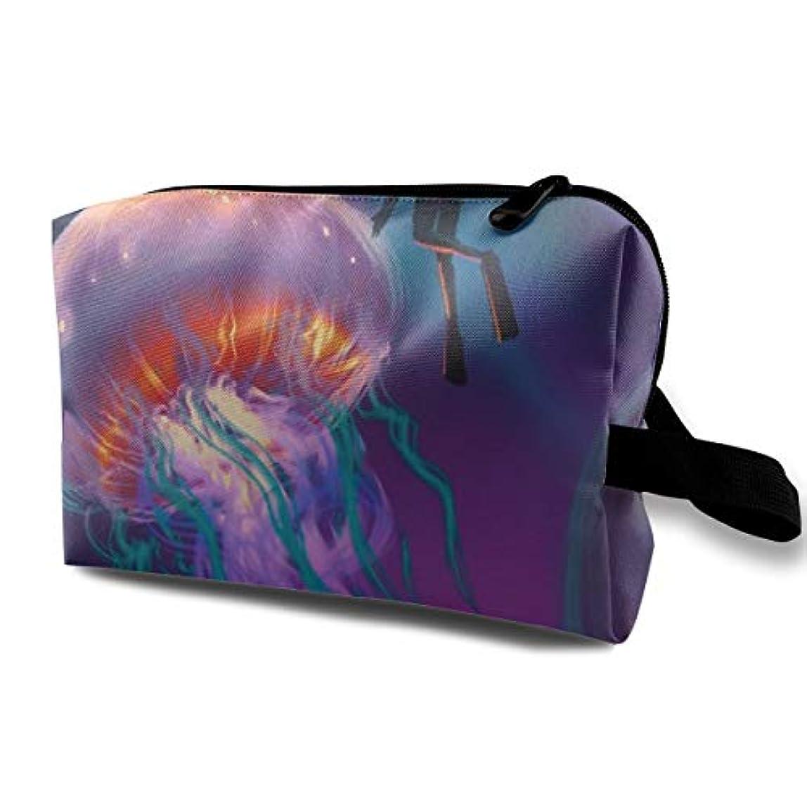 ロビーイチゴソブリケットColourful Fantasy Jellyfish 収納ポーチ 化粧ポーチ 大容量 軽量 耐久性 ハンドル付持ち運び便利。入れ 自宅?出張?旅行?アウトドア撮影などに対応。メンズ レディース トラベルグッズ