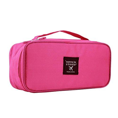 【ノーブランド 品】下着収納バッグ 化粧品袋 ランジェリーケース トラベルポーチ  旅行  全5色  - ローズレッド