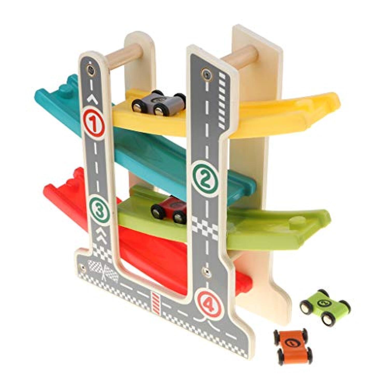 KESOTO レーシングカー くるくるスロープ 車 トラック玩具 4つ軌道 4台車付き