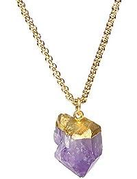 ステンレススチールロングチェーンゴールドメッキ色パープルクリスタル宝石用原石ネックレス