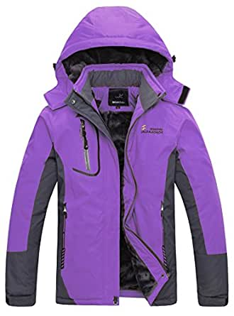 WantDo防水性ハードシェル レディース アウトドアジャケット スキーウェア 裏ボアフリース 防寒防風対策(パープル,XL)
