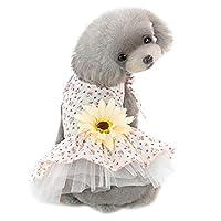 ペットのドレス、かわいい太陽の花柄のドレス夏犬服猫チワワ子犬アパレルチュチュ結婚式の衣装小さなペット服スカート,yellowflower,M