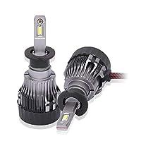H4 / H7 / H11 / H3 LEDヘッドライト電球変換キット、4000ルーメン6500KスーパーブライトCSPチップ防水LEDヘッドランプ - 1ペア (Edition : H3)