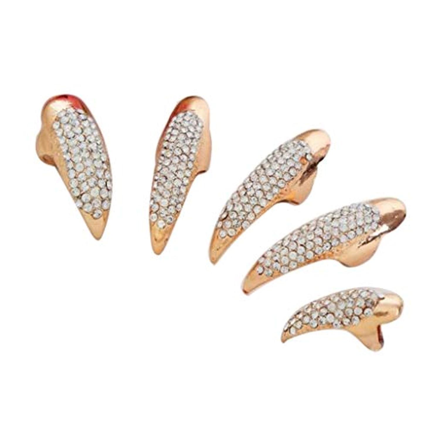 感動する社説ラップトップ爪リング ネイルチップ ネイルアート 人工の爪 曲げ爪 コスプレ パーティー 2色選べ - ゴールデン