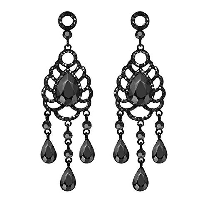 超えて発生不忠Nicircle 高級エレガントヴィンテージアドバンスブラックメッシュドロップダイヤモンドレディースイヤリングジュエリー Luxury Elegant Vintage Advanced Black Mesh Drop Diamond...
