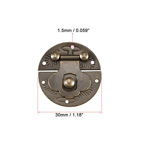 uxcell Wood Case Box Round Hasp 30x8.5mm Closure Brass Antique Latches Bronze Tone, 3 Pcs