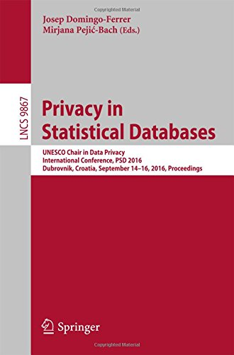 Privacy in Statistical Databases: UNESCO Chair in Data Privacy, International Conference, PSD 2016, Dubrovnik, Croatia, September 14–16, 2016, Proceedings (Lecture Notes in Computer Science)