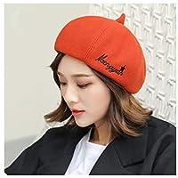 HENGTONGWANDA Hats, Berets, Ladies Hats, Autumn and Winter Wild British Vintage Student Hats, Woolen Hats, Cute-Black (Color : Orange)