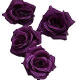 バラ 造花 ローズ 薔薇 アレンジ 8センチ 50個セット 結婚式 2次会 パーティー ブライダルイベントに (ディープパープル)