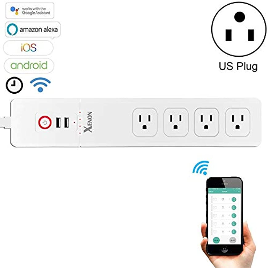 モニター焦がす外出LUOWANXIU スマートプラグ スマートコンセント 2 x USBポート 4 x USプラグジャックWiFiリモートコントロールスマート電源ソケットはAlexaおよびGoogle Homeと連携、ケーブル長:1.5m、AC 110240V、USプラグ (色 : Color1)