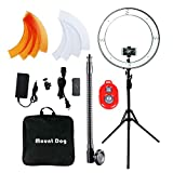 MountDog LEDリングライト 外径18in ring light 調光出来二色SMD ライトスタンド 二色フィルター 照明キット スマートフォン/カメラスタンド ホットシューアダプター 肖像画/ビデオ撮影用 収納袋付き