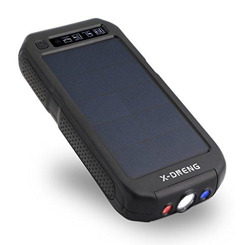 X-DNENG モバイルバッテリー 大容量 12000mAh ソーラーチャージャー 2USB出力ポート 防水 ソーラー充電器 電量表示 iPhone7 iPad Android Xperia Galaxyなどに対応 地震/災害時/ 旅行/出張に (ブラック)