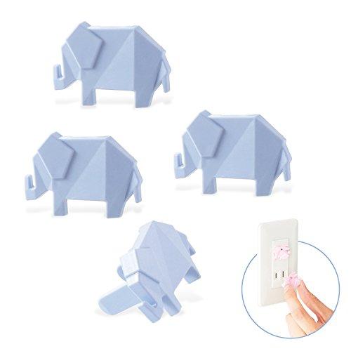 エレコム コンセントキャップ カバー ホコリ防止 いたずらによる感電防止 引っ張っても簡単に抜けない安全設計 ゾウ ブルー T-CAPKAKU1