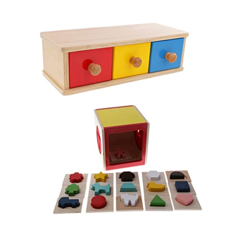 F Fityle 知育玩具 教育玩具 木製 子供用品 シェイプソートボックス ジオメトリブロック