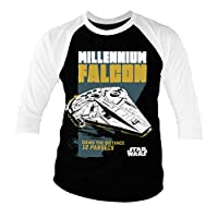 Officially Licensed Millennium Falcon - Going The Distance Baseball 3/4 Sleeve T-Shirt (Black-White), Small