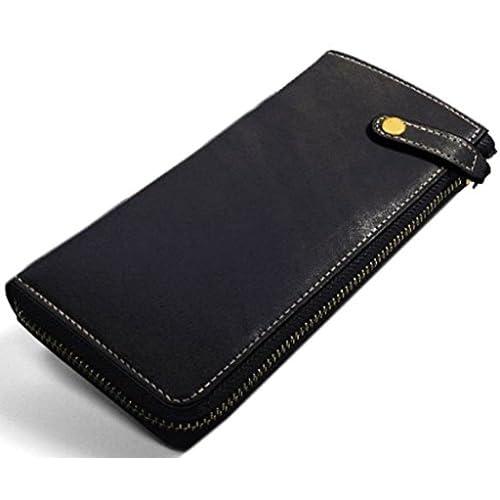 [Maturi マトゥーリ] かっこいい長財布( ブライドルレザー×日本製ヌメ革 MR-105) (ブラック 黒)