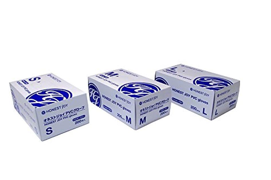 コミットメントヶ月目しっとりオネストジョイ PVC グローブ パウダーフリー Lサイズ 1箱200枚入り