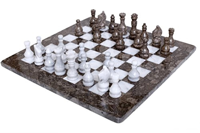 Radicaln 16インチハンドメイドグレーOceanic andホワイトMarble Fullチェスゲーム元大理石チェスセット