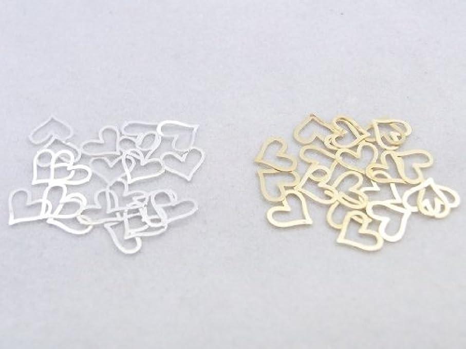 納屋コンデンサー十代紗や工房 メタルアートパーツ メタリックパーツ ハート大 ゴールド&シルバー 各20枚