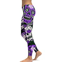 sissycos Women's Halloween Sugar Skull Printed Leggings Ankle Length Tights Capris Pants Red