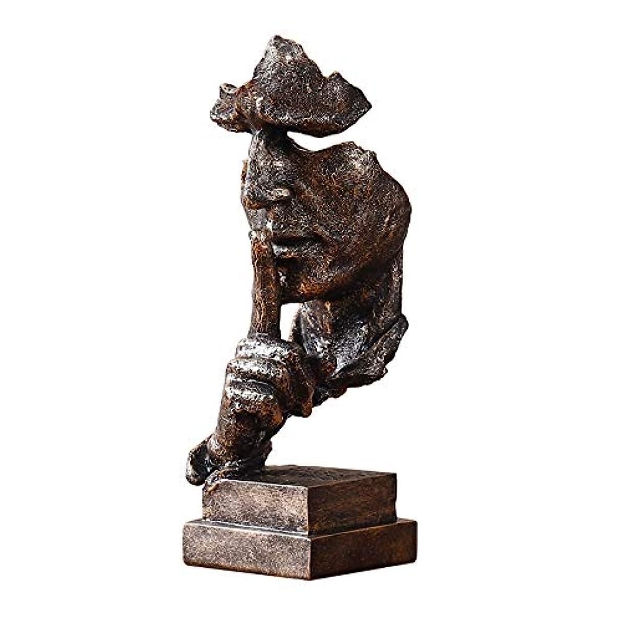 解読する針信仰樹脂抽象彫刻沈黙はゴールデン男性像キャラクター工芸品装飾用オフィスリビングルームアートワーク,Bronze
