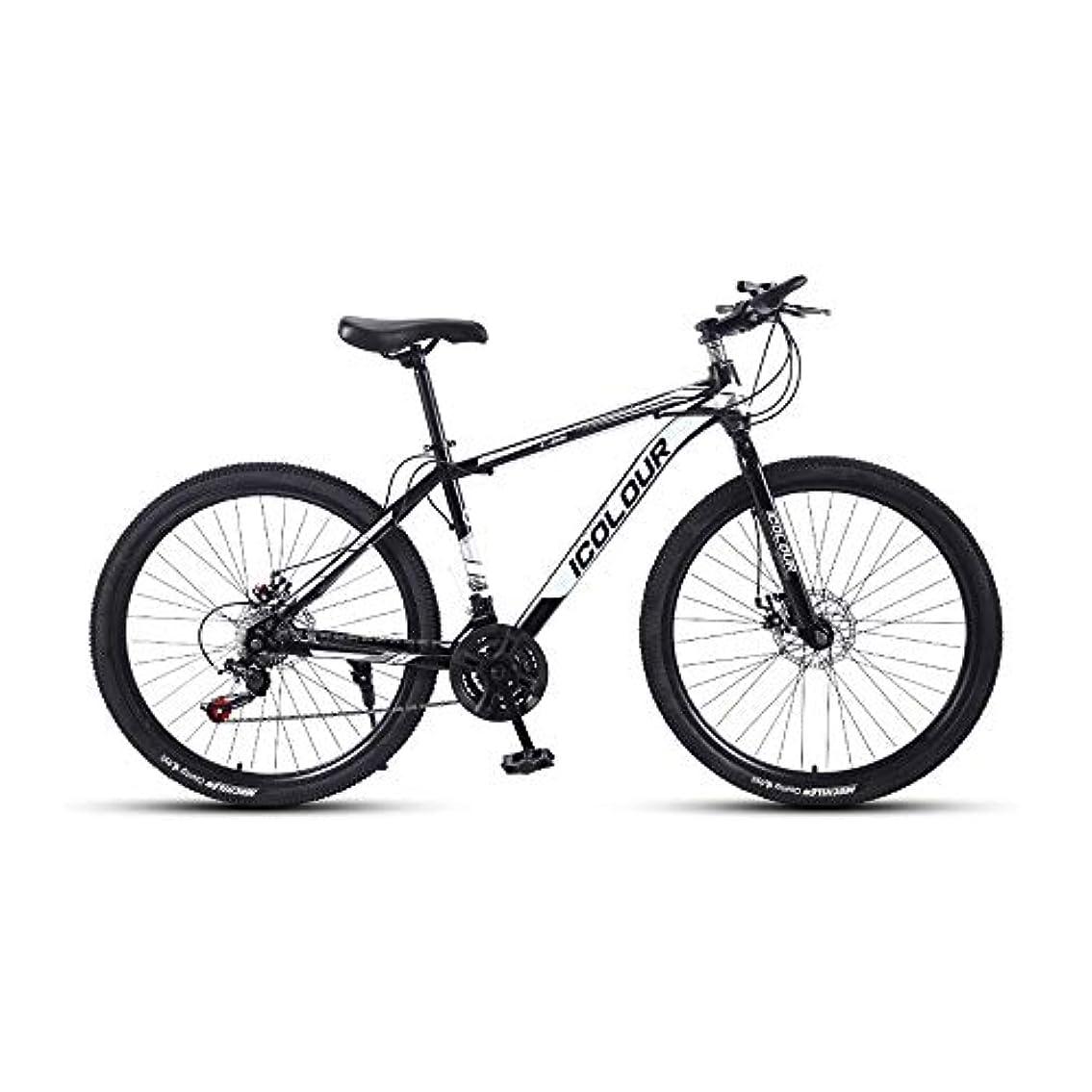 微弱はしご乳剤LRHD マウンテン自転車、大人24速度速度ファッション旅行自転車26インチ男女MTBバイクダブルディスクブレーキ高炭素鋼フレーム大型アウトドアサイクリング自転車アーバントラックバイク(ブラック)