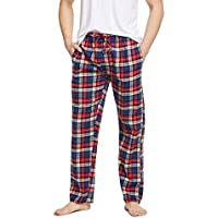 CYZ Men's 100% Cotton Super Soft Flannel Plaid Pajama Pants, Red Blue Plaid, Mens Size: X-Large