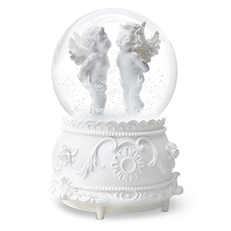 qtmy Musical Snow Globesオーナメント天使キューピッド音楽ボックスwith LEDライトクリスタルボールクリスマスギフト女の子用