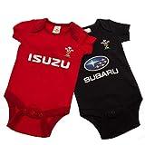 ラグビー ウェールズ代表 Wales RU オフィシャル商品 赤ちゃん・ベビー用 半袖 ボディースーツ ロンパース (2枚入) (6-9ヶ月) (レッド/ブラック)
