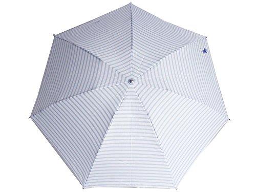 RalphLauren(ラルフローレン)折りたたみ傘 レディース 水色/白 ネイビーロゴ ボーダー柄