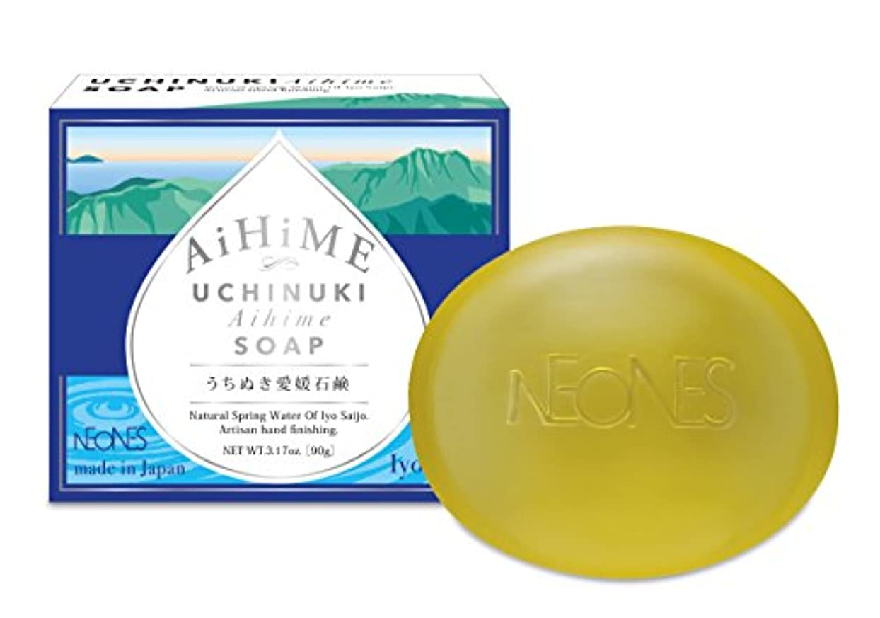 海嶺芝生以下【うちぬき愛媛石鹸 90g】たっぷり美容成分ともっちり濃密泡でうるおい美容液洗顔。