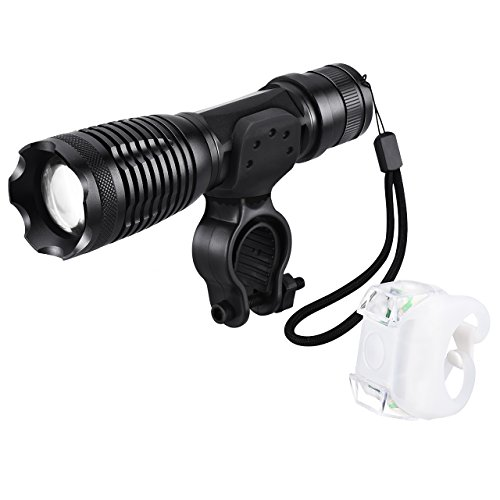 Qtop 自転車用ヘッドライト ヘッドライト 前照灯 自転車ライト LEDライト 懐中電灯 テールライトセット ハンドル取り付け型 ヘッドライト&テールライトキット 5つの点灯モード