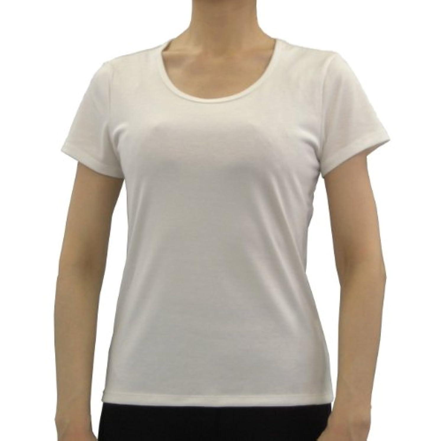 胴体奇跡的な薬理学美肌肌着/NANO MIX(ナノミックス)レディス?Uネック半袖Tシャツ【アトピー対策?アトピー肌?敏感肌?美肌?肌着】 (M/バスト(79-87)?ウエスト(64-70), ホワイト)