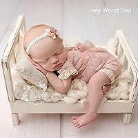写真のための新生児の小道具取り外し可能なベッド(ベッドのみ)赤ちゃんの写真の背景アクセサリー撮影のためのFlokati新生児スタジオ小道具(16.5 x 11 x 8.5インチ)
