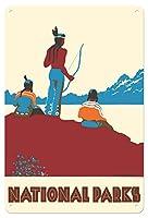 22cm x 30cmヴィンテージハワイアンティンサイン - 国立公園 - ネイティブアメリカン - ビンテージな世界旅行のポスター によって作成された ドロシー・ワー c.1935