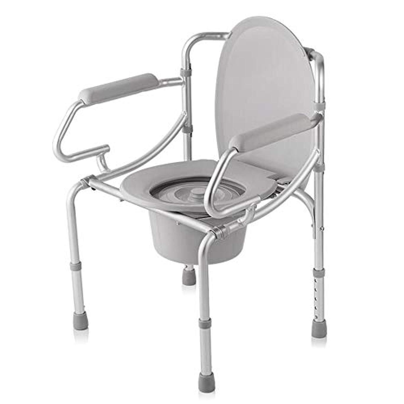 中古品揃え推測する調節可能な便器椅子、取り外し可能なパッド入りシートとトイレ付きの豪華な折りたたみ軽量便器