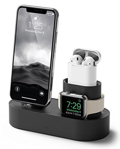 iPhone Apple Watch AirPods 充電スタンド elago Charging Hub シリコン スタンド 純正 ケーブル のみ 対応 充電ドック 卓上 クレードル ホルダー [ アイフォン/エアーポッズ/アップルウォッチ ] ブラック