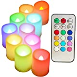 Multi Color Changing Flameless Candles with Timer and Remote - SWEETIME Set of 10 Colorful LED Votive Candles with Flickering Flame, Color Change Tea Lights Decor for Wedding, Birthday.