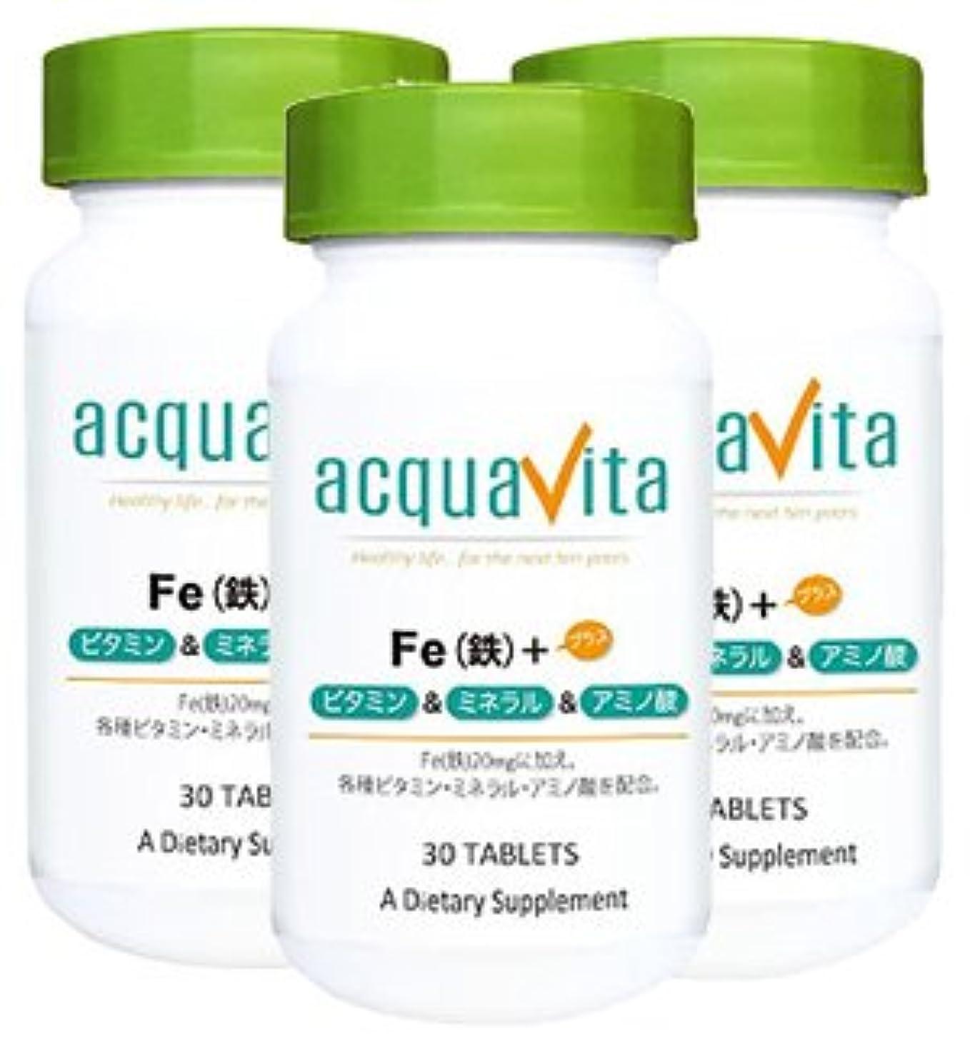 大きいマラソン緩むアクアヴィータ Fe(鉄)+ビタミン?ミネラル?アミノ酸(アクアビータ?Acquavita)【3本セット】