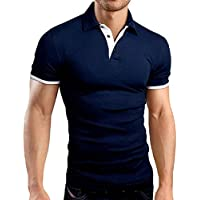 FSSE Men's Lapel Casual Business Short Sleeve Regular Fit Solid Golf Polo Shirt