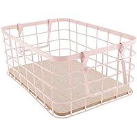 Fenteer シンプル 収納バスケット スナック 果物 収納 バスケット ハンドル付き 丈夫 全3色  - ピンク