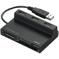 iBUFFALO マルチカードリーダー/ライター 48+4メディア対応 USBハブ付 ブラック BSCRA48HU2BK