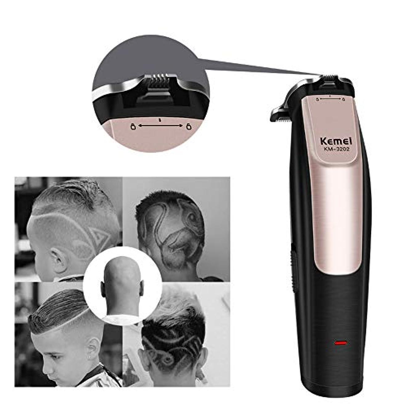 小康長々とブレイズバリカンは、0mmのBaldheadedヘアートリマーUSB充電式彫刻は男性の髪のカッティングマシンの精度でバリカンをカービング