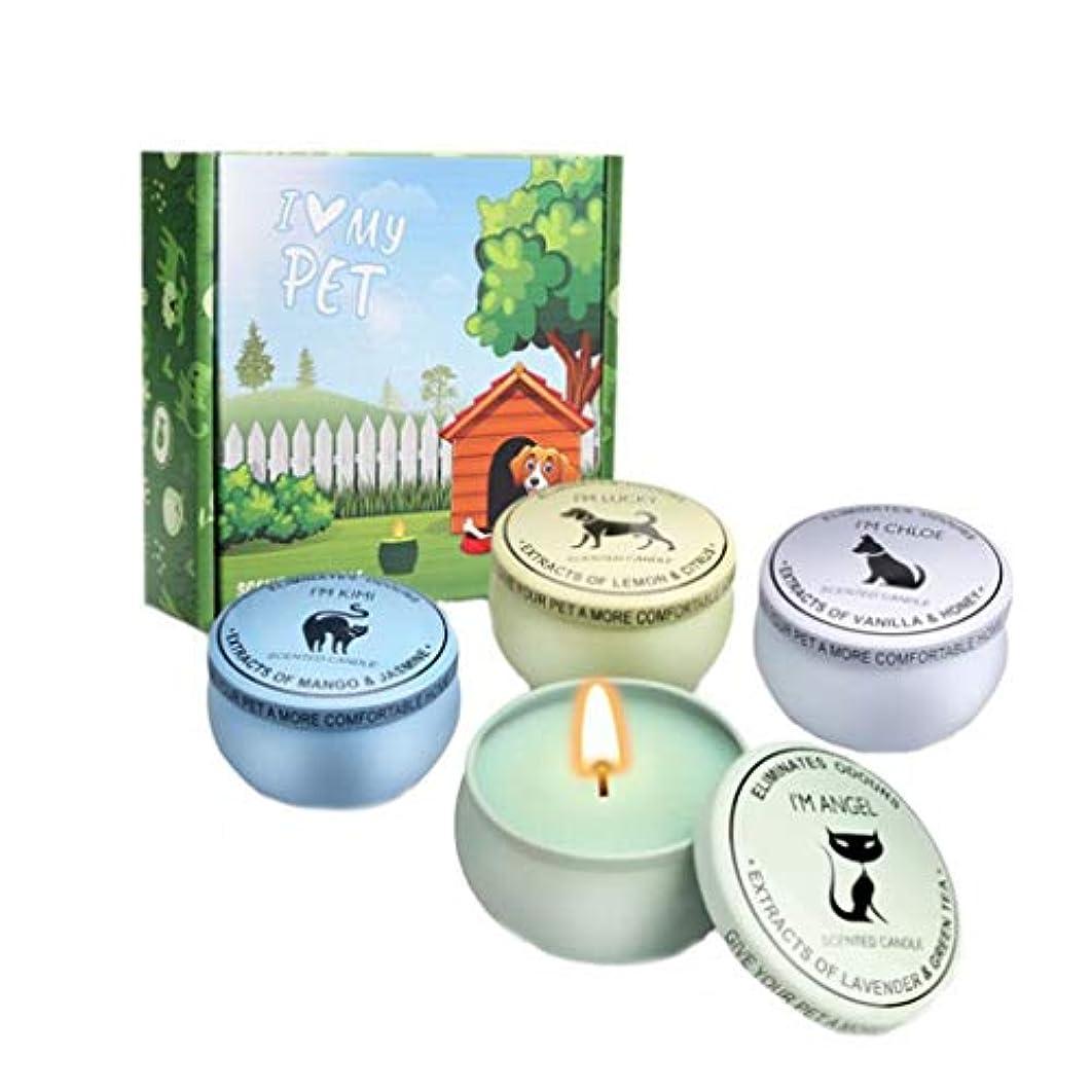 ペチコートドラムトランスペアレントキャンドル、臭いの蝋燭、無煙大豆ワックスホームペット香料入りの蝋燭セットを取除くペット気分をなだめる