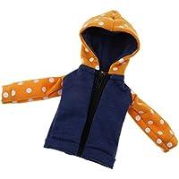 Fenteer 2カラー選択 ドールジーンズショーツ 12インチ BJD ブライスドール対応 パーカー コート ジャケット 人形服 アクセサリー - オレンジ