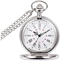 Pocket Watch, Roman Word Double Transparent Glass Mechanical Pocket Watch, Polished Pendant Chain Gear Movement Pocket Watch, Casual Pocket and Bracelet Watch