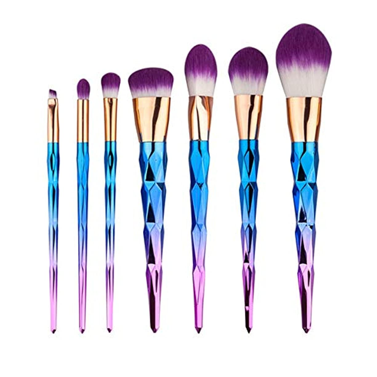 罪悪感僕の充電Makeup brushes 7.グラデーションダイヤモンドドリルブラシセットユニコーンの美しさとメイクアップツール suits (Color : Rainbow)