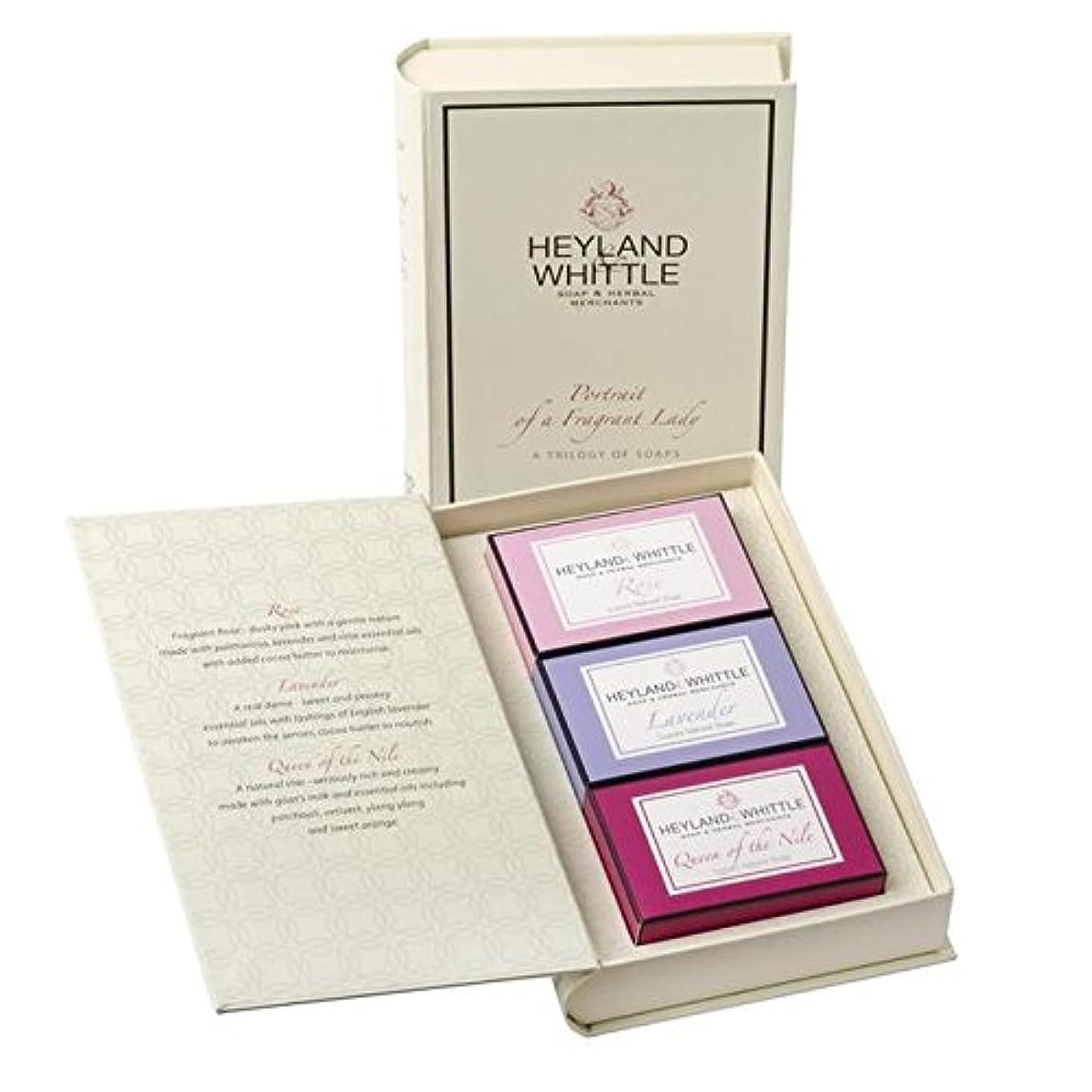 代数的ゾーン耐える&削る石鹸帳、香りの女性の肖像画 x4 - Heyland & Whittle Soap Book, Portrait of a Fragrant Lady (Pack of 4) [並行輸入品]