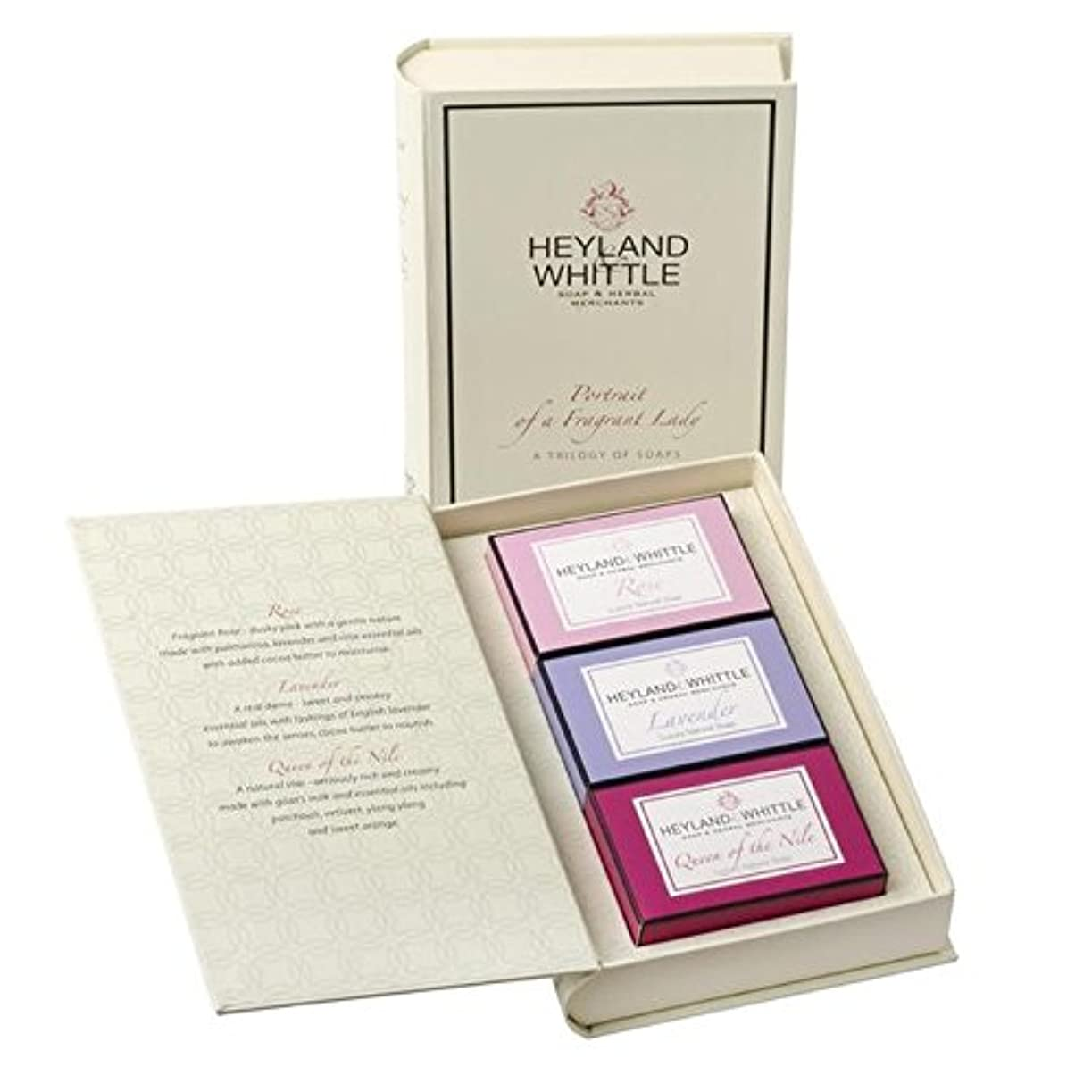 作曲する玉キノコ&削る石鹸帳、香りの女性の肖像画 x4 - Heyland & Whittle Soap Book, Portrait of a Fragrant Lady (Pack of 4) [並行輸入品]