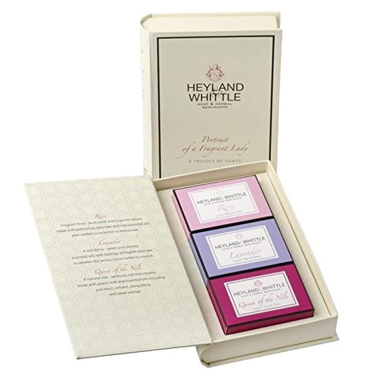 承知しました減少こっそり&削る石鹸帳、香りの女性の肖像画 x4 - Heyland & Whittle Soap Book, Portrait of a Fragrant Lady (Pack of 4) [並行輸入品]